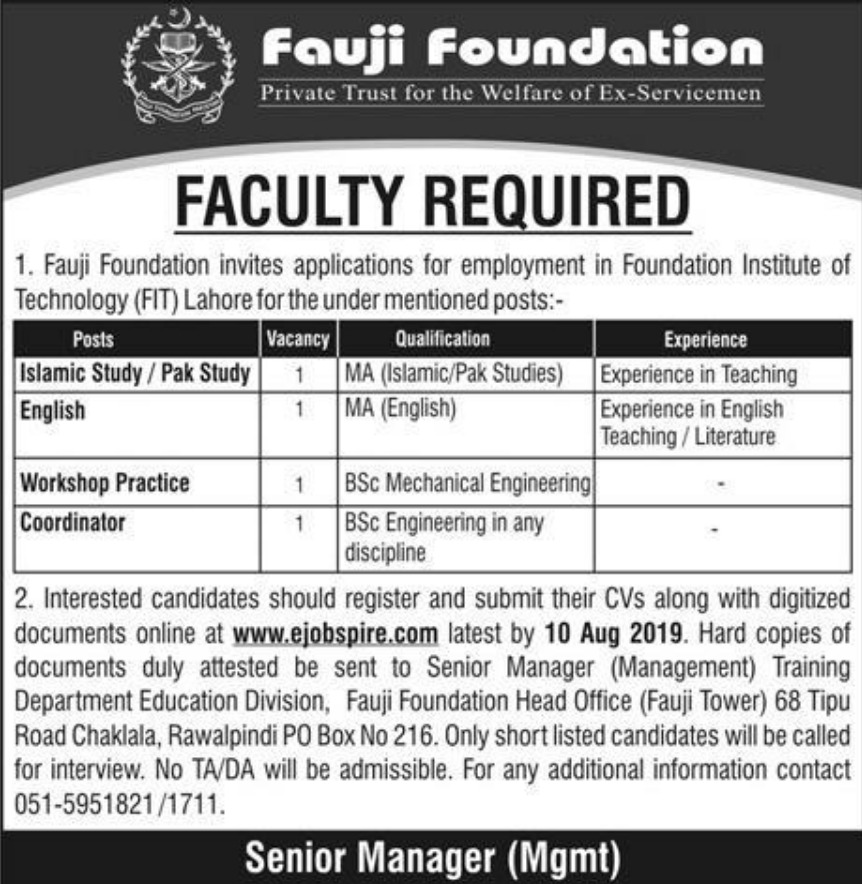Foundation Institute of Technology FIT Lahore Jobs 2019 Fauji Foundation
