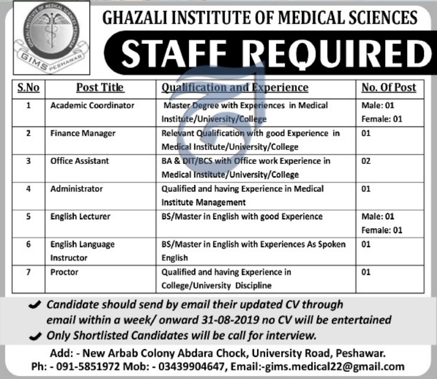 Ghazali Institute of Medical Sciences Peshawar Jobs 2019