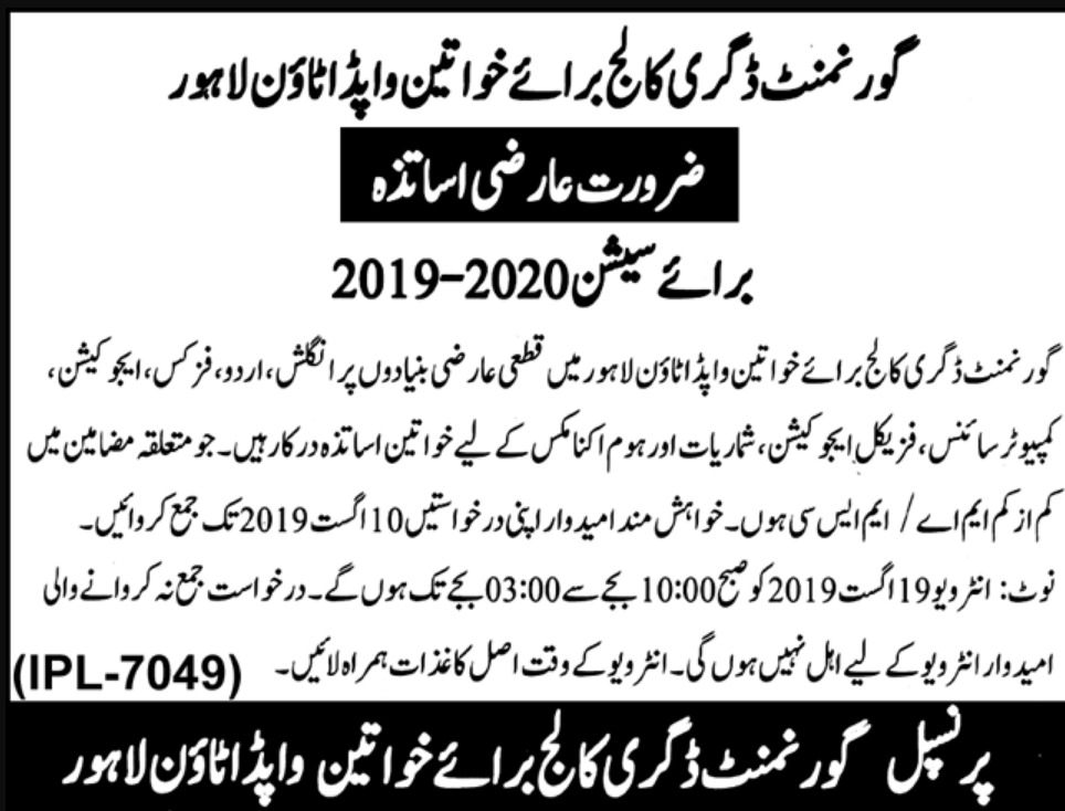 Government Degree College for Women Wapda Town Lahore Jobs 2019