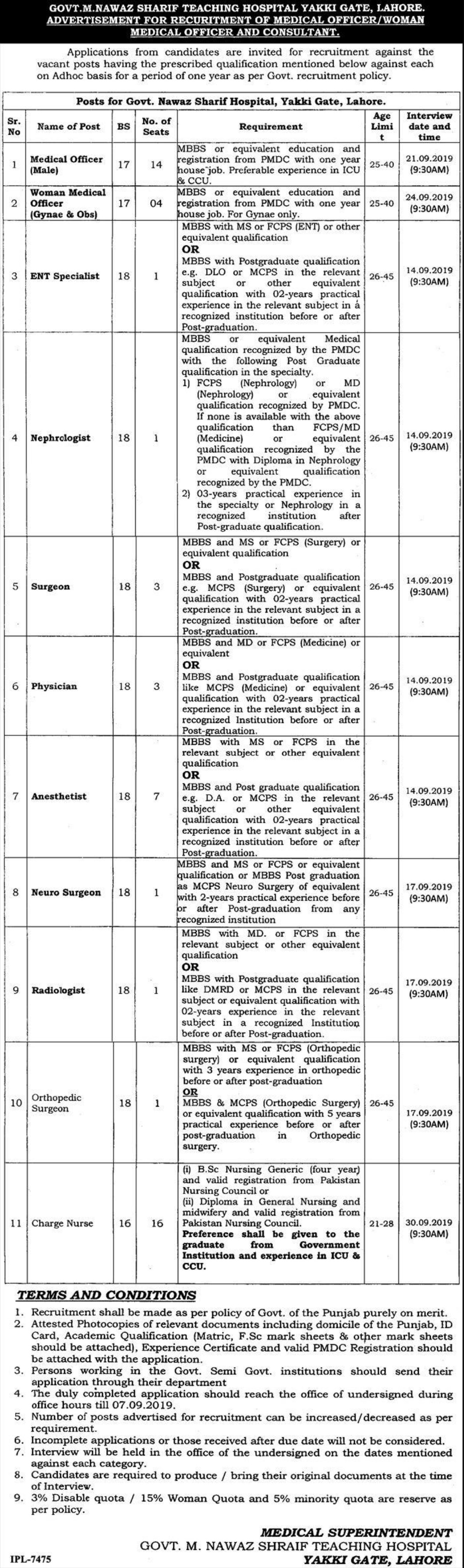 Govt. M. Nawaz Sharif Teaching Hospital Yakki Gate Lahore Jobs 2019