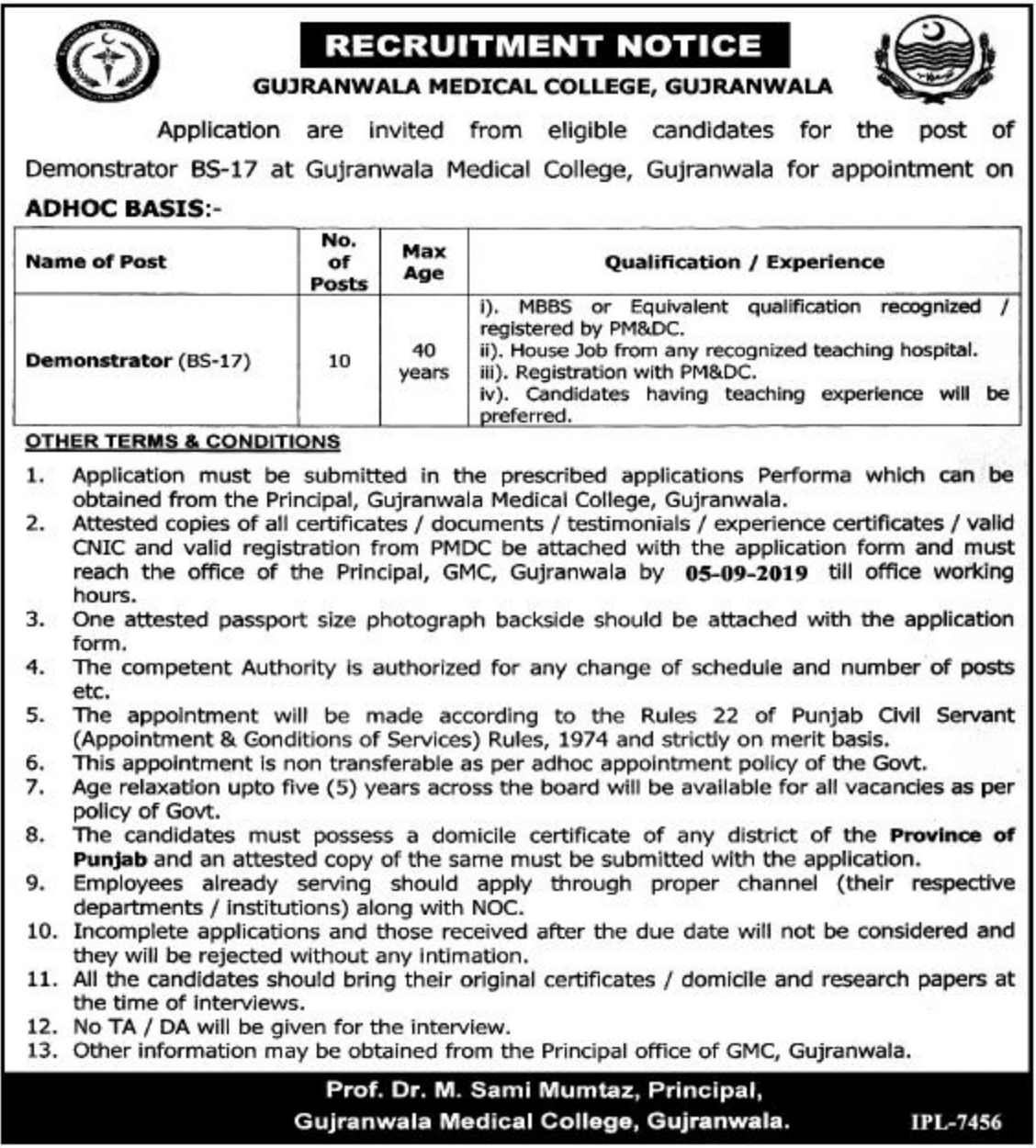 Gujranwala Medical College Jobs 2019 for Demonstrator