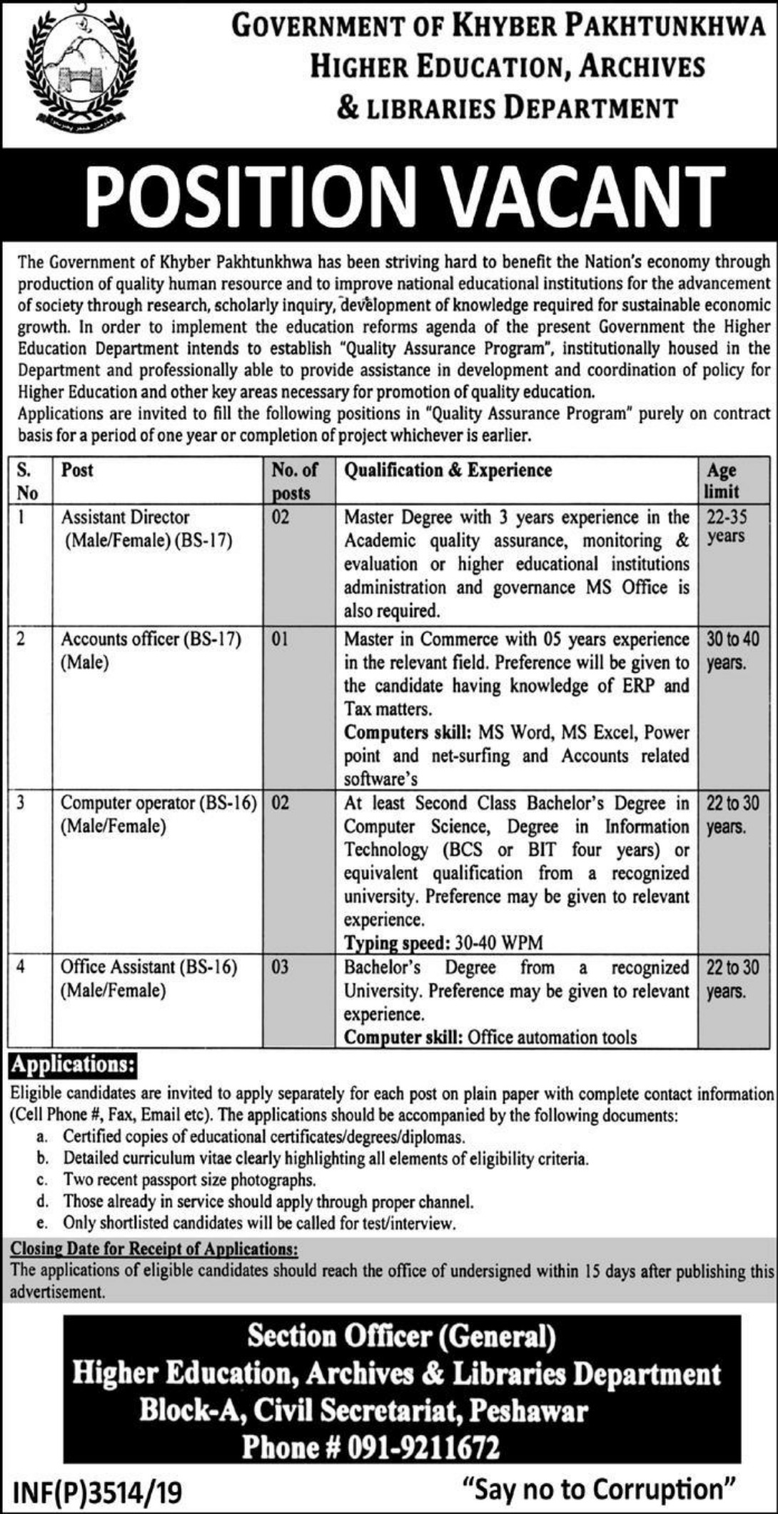 Higher Education Archives & Libraries Department Peshawar Jobs 2019 KPK