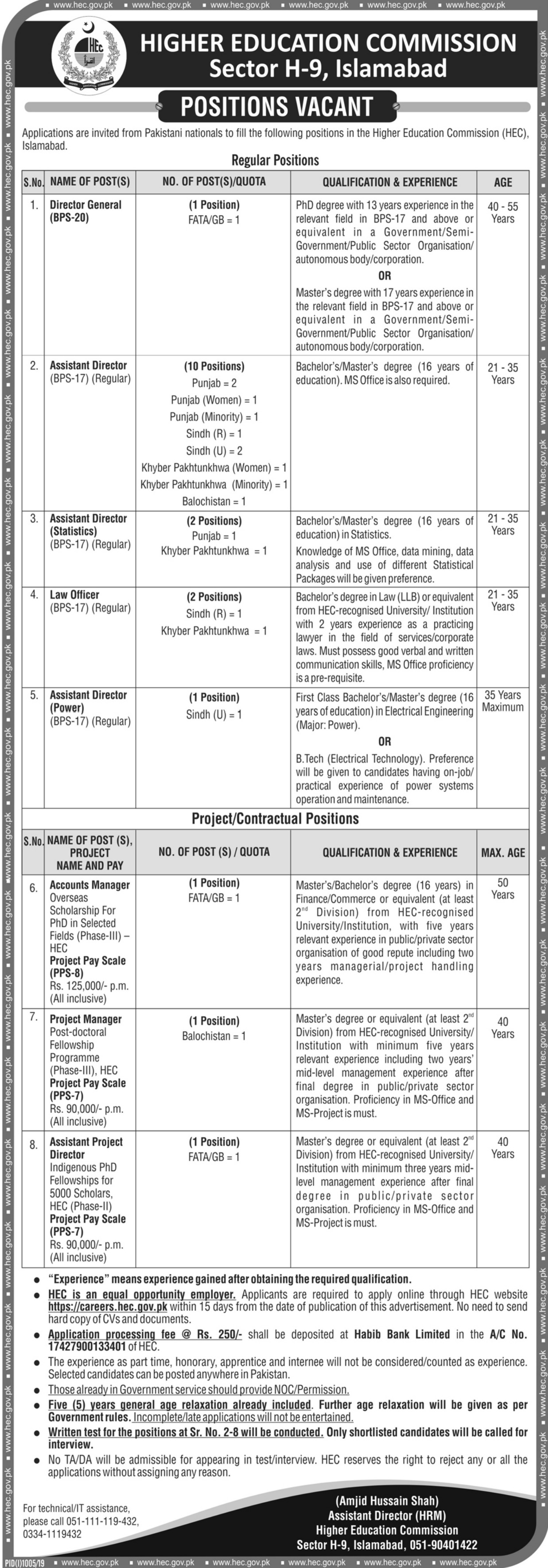 Higher Education Commission HEC Jobs 2019 Pakistan