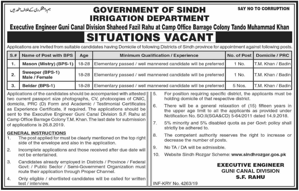 Irrigation Department Government of Sindh Jobs 2019 Tando Muhammad Khan