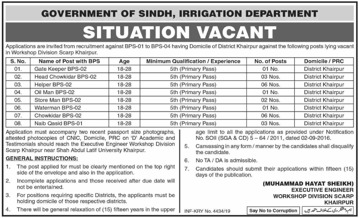 Irrigation Department Government of Sindh Jobs 2019