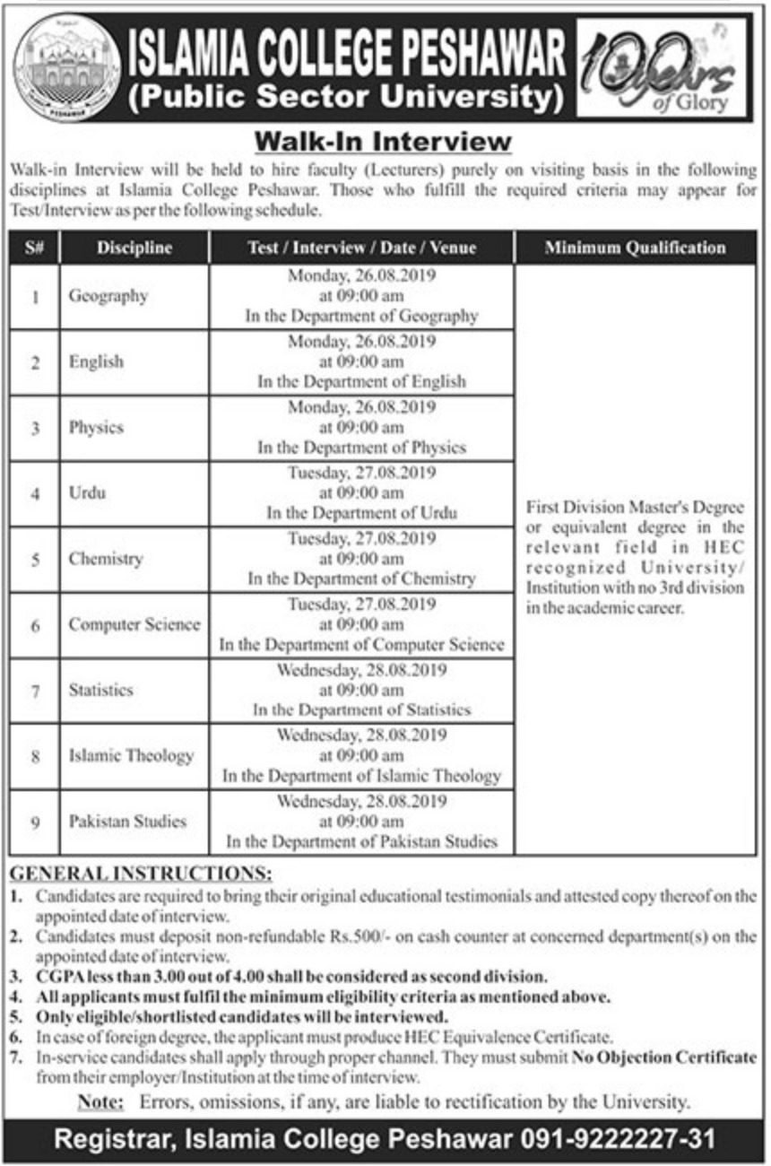 Islamia College Peshawar Jobs 2019 Walk-In-Interview for Lecturer
