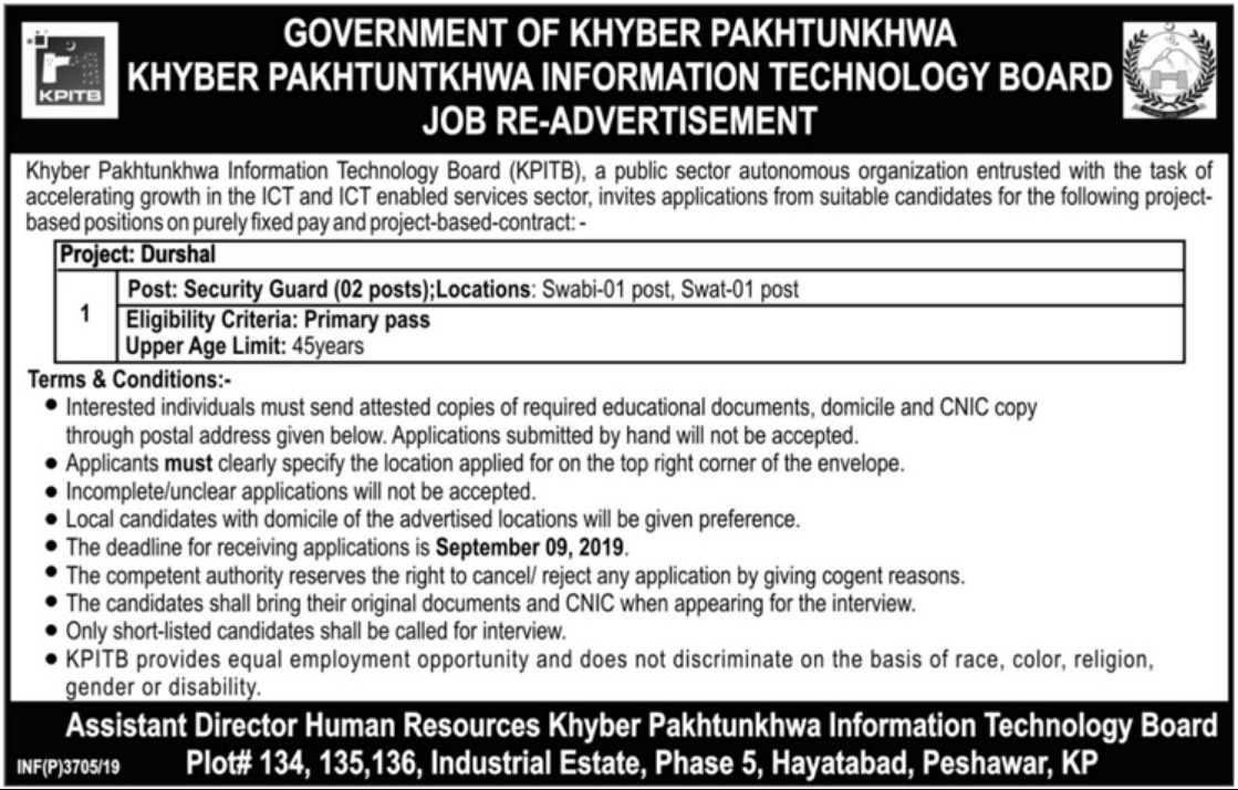 Khyber Pakhtunkhwa Information Technology Board KPITB Jobs 2019