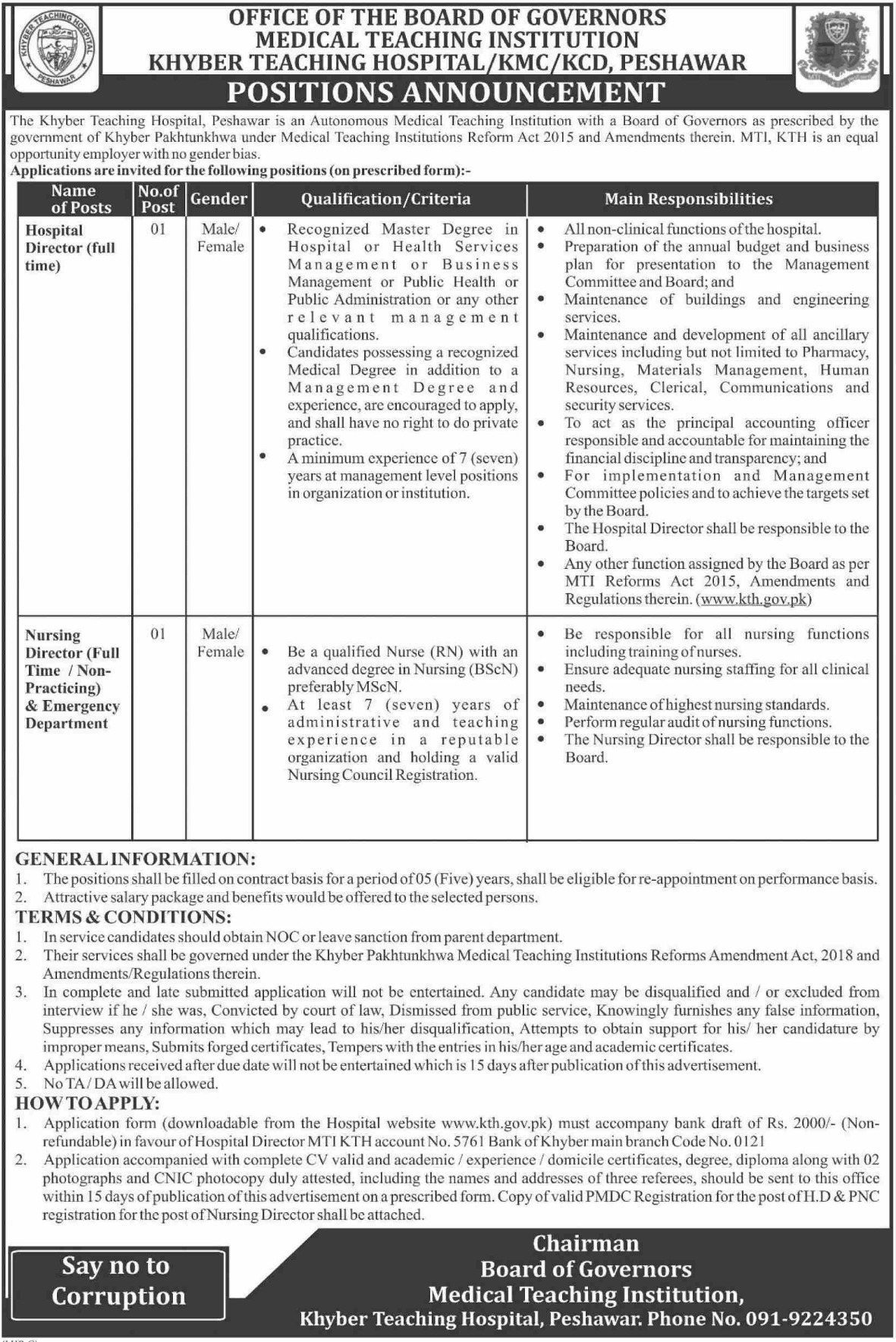 Khyber Teaching Hospital KTH Peshawar Jobs 2019 Download Application Form