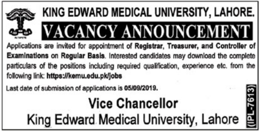 King Edward Medical University KEMU Lahore Jobs 2019