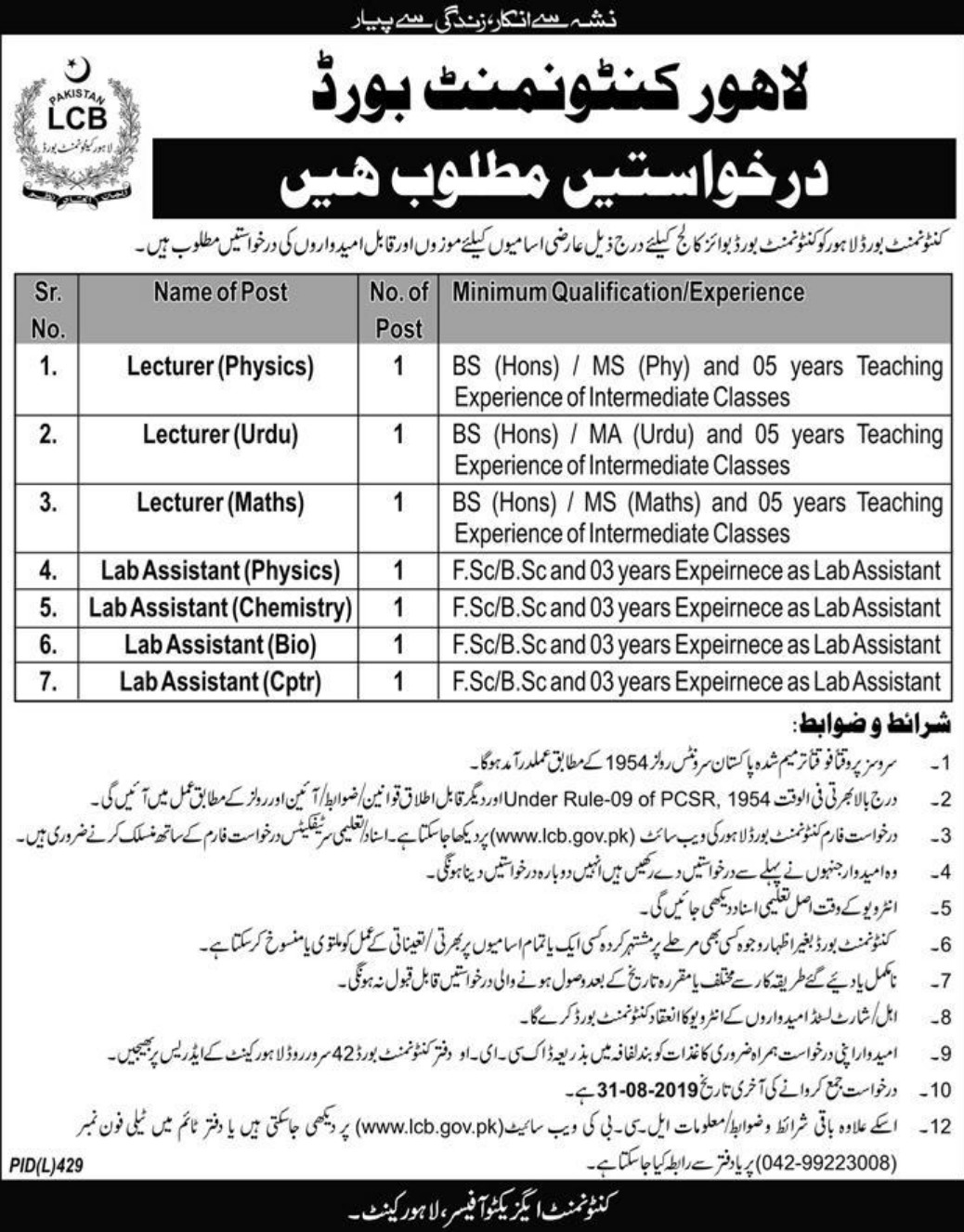 Lahore Cantonment Board Jobs 2019 Boys College
