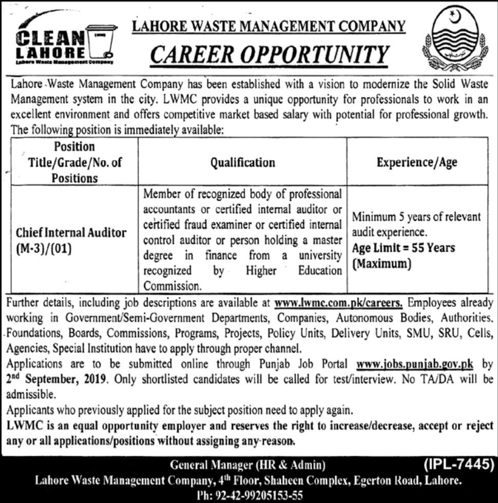 Lahore Waste Management Company LWMC Jobs 2019 Apply Online