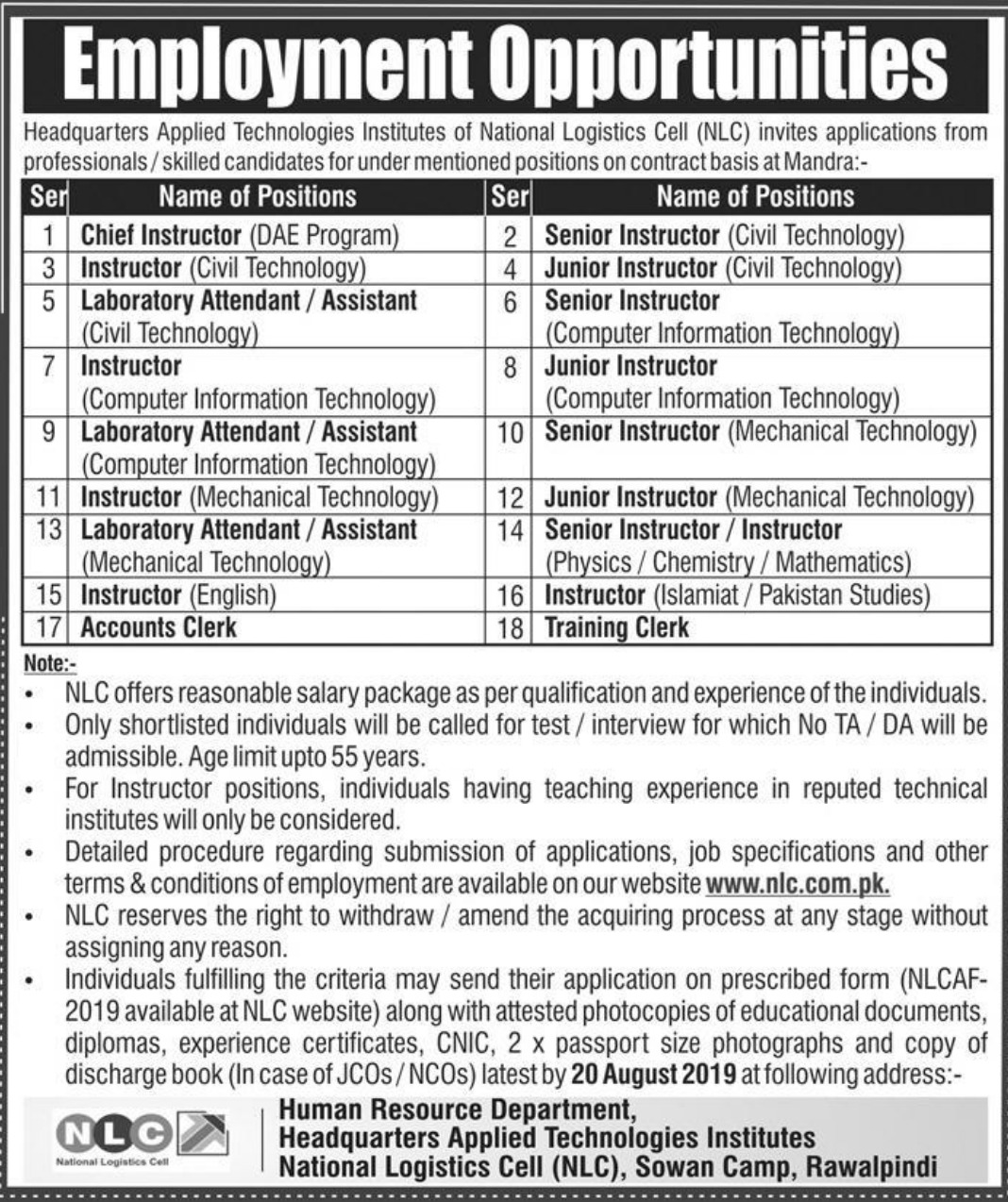 National Logistics Cell NLC Jobs 2019 Applied Technologies Institute