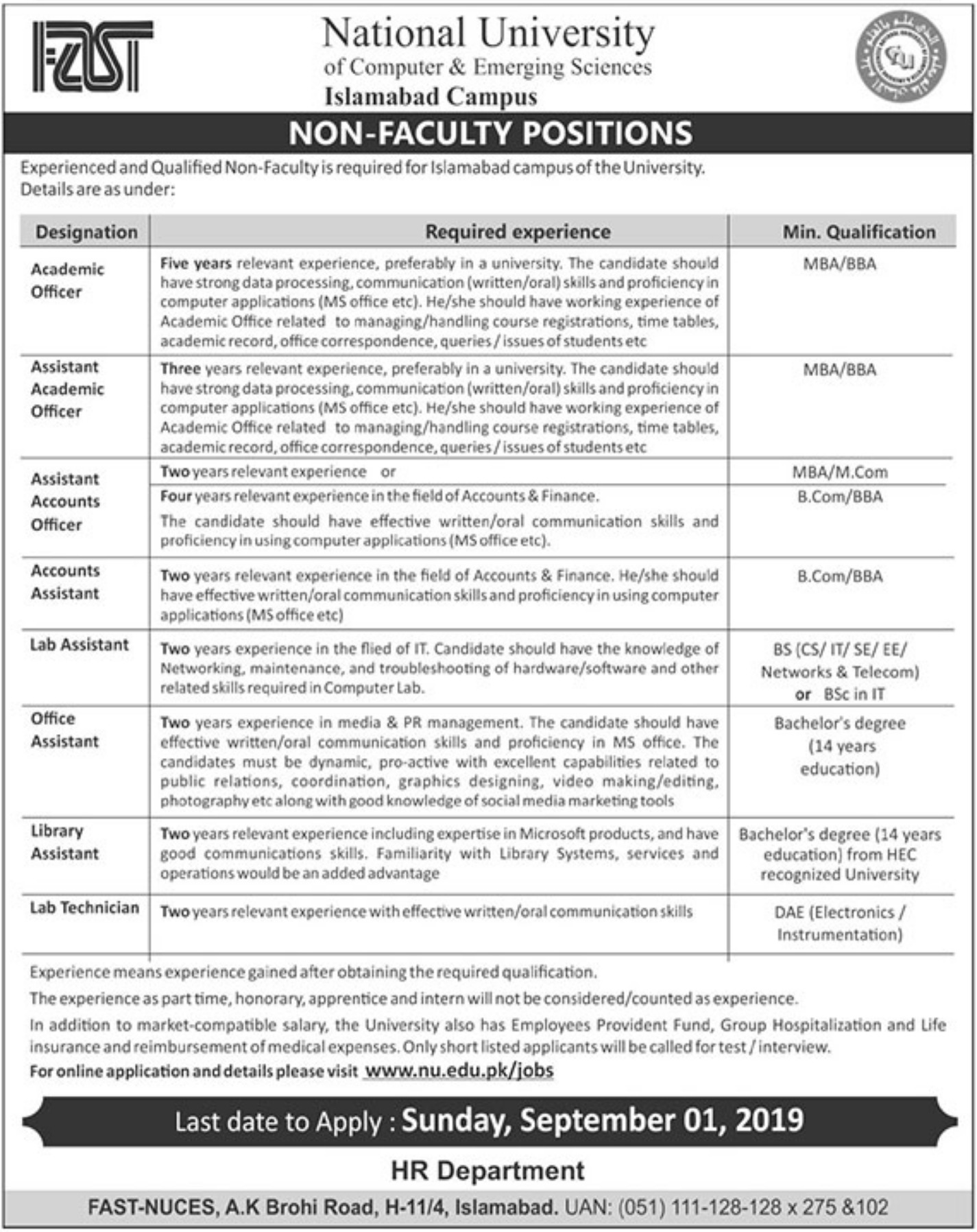National University of Computer & Emerging Sciences Jobs 2019 Apply Online