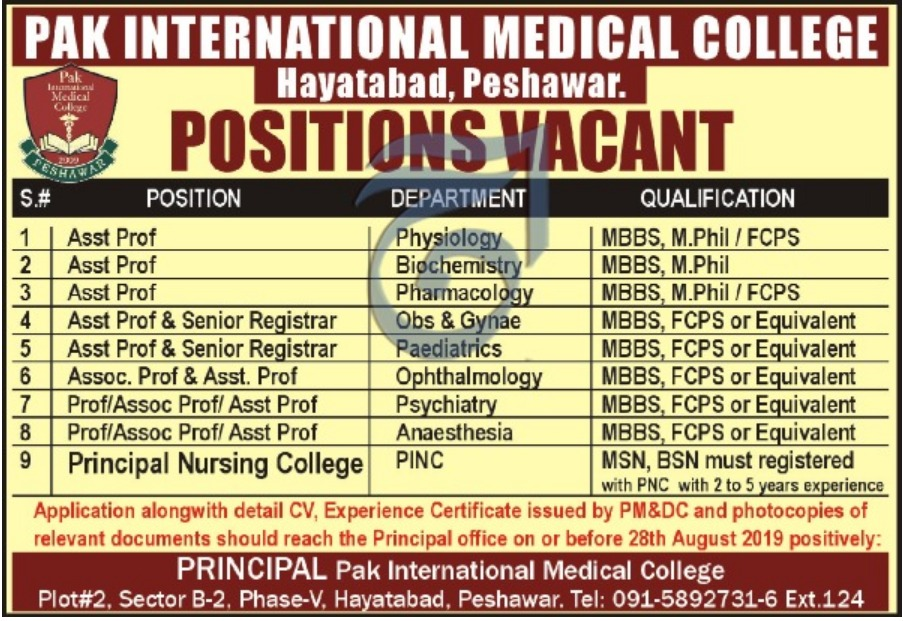 Pak International Medical College Hayatabad Peshawar Jobs 2019