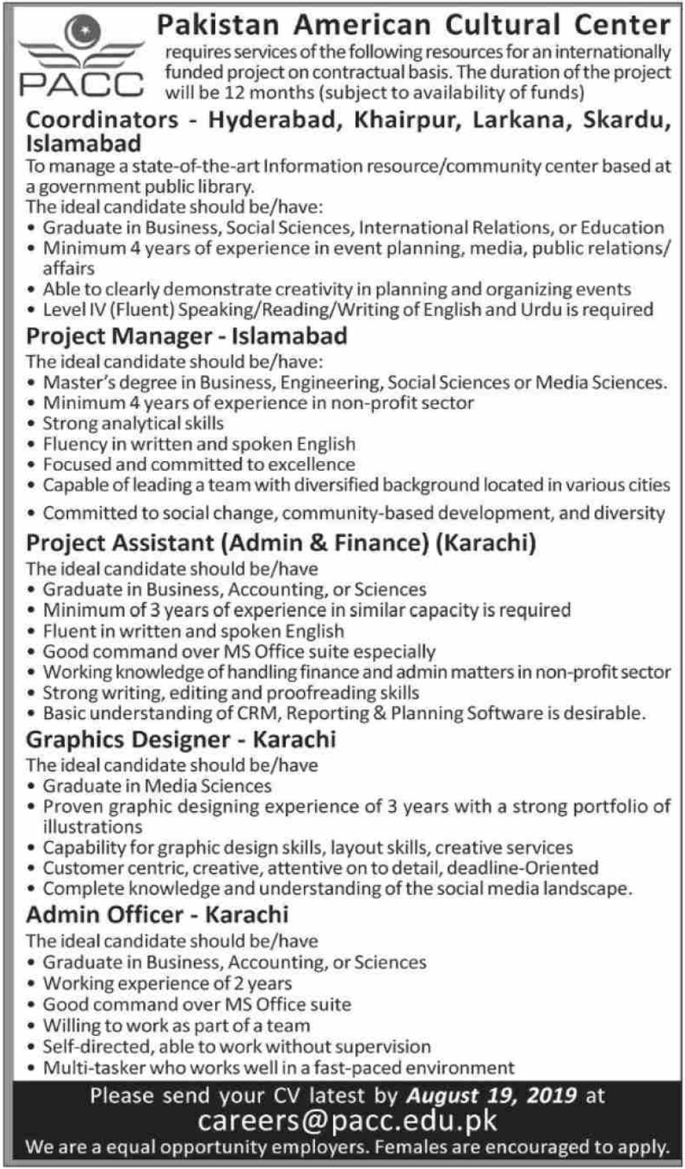 Pakistan American Cultural Center PACC Jobs 2019