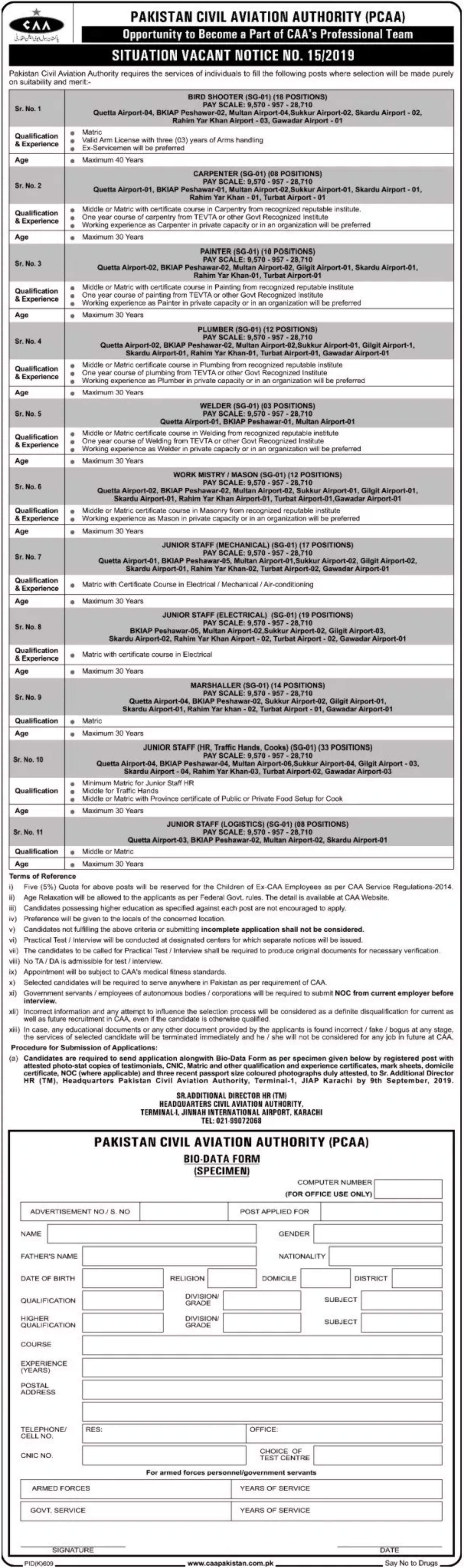 Pakistan Civil Aviation Authority PCAA Jobs 2019 Apply Online