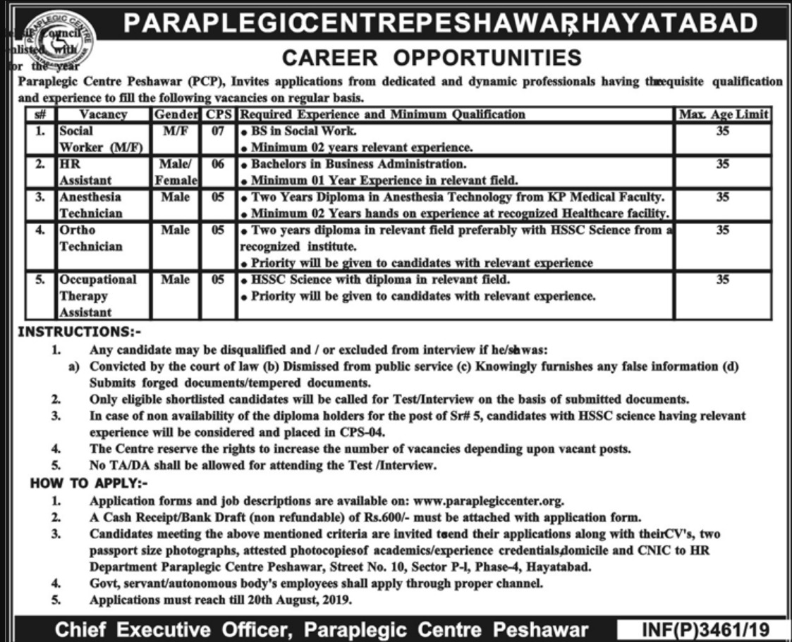 Paraplegic Centre Peshawar PCP Jobs 2019 Download Application Form