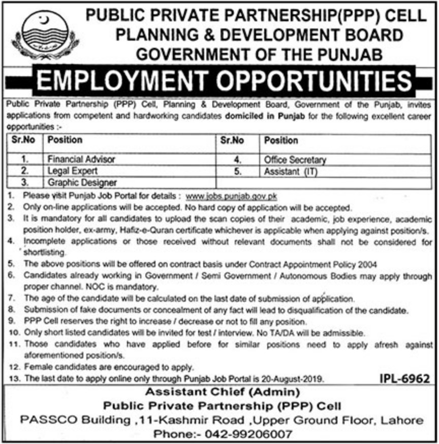 Planning & Development Board Government of Punjab Jobs 2019 PPP Cell