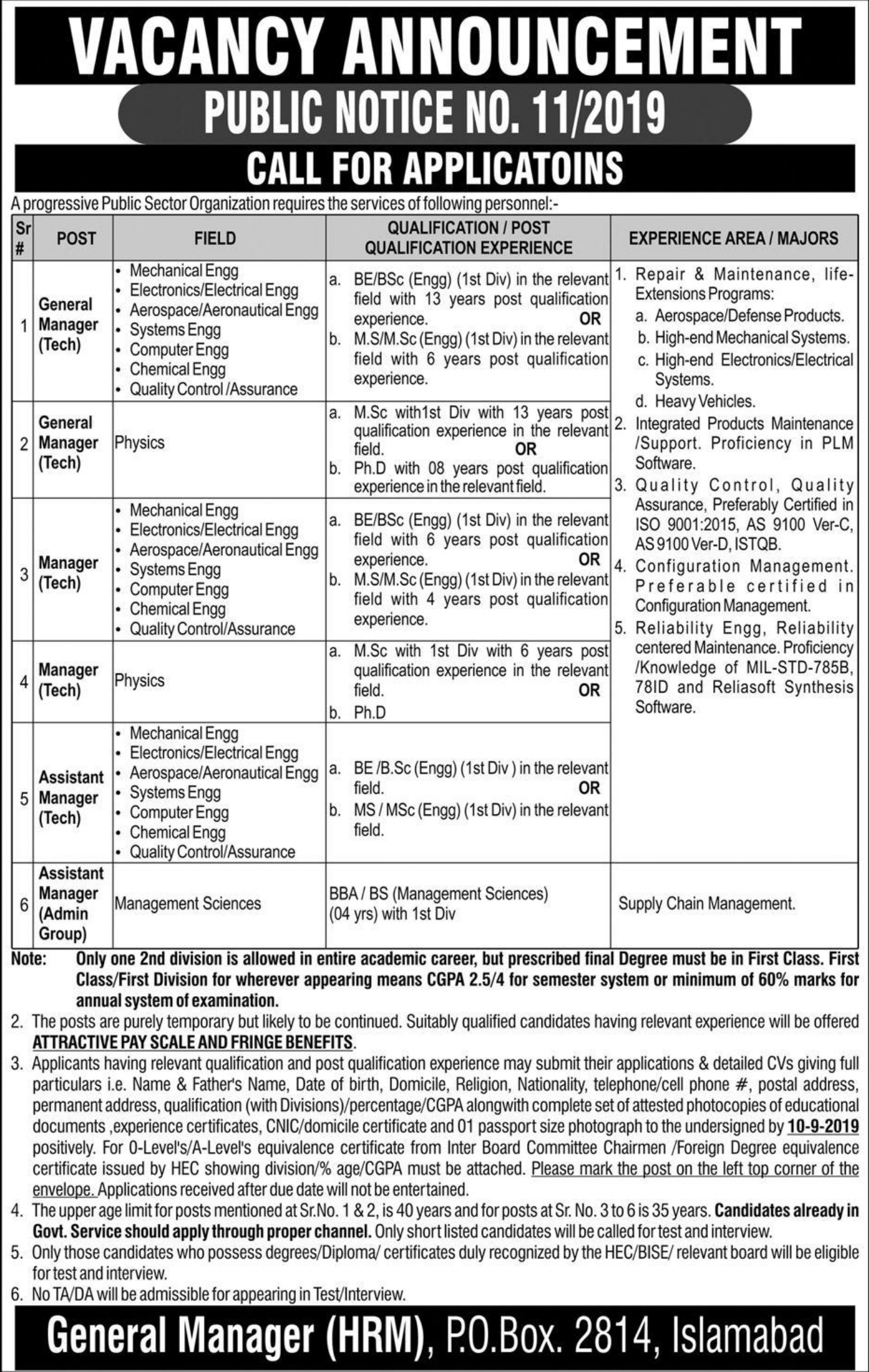 Public Sector Organization Jobs 2019 P.O.Box 2814 Islamabad