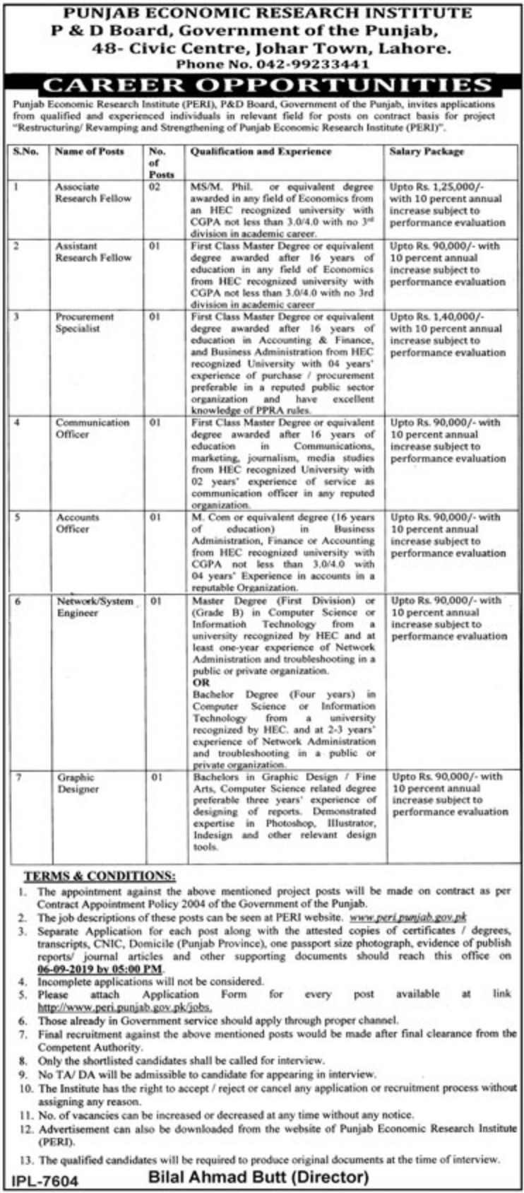 Punjab Economic Research Institute P&D Board Government of Punjab Jobs 2019