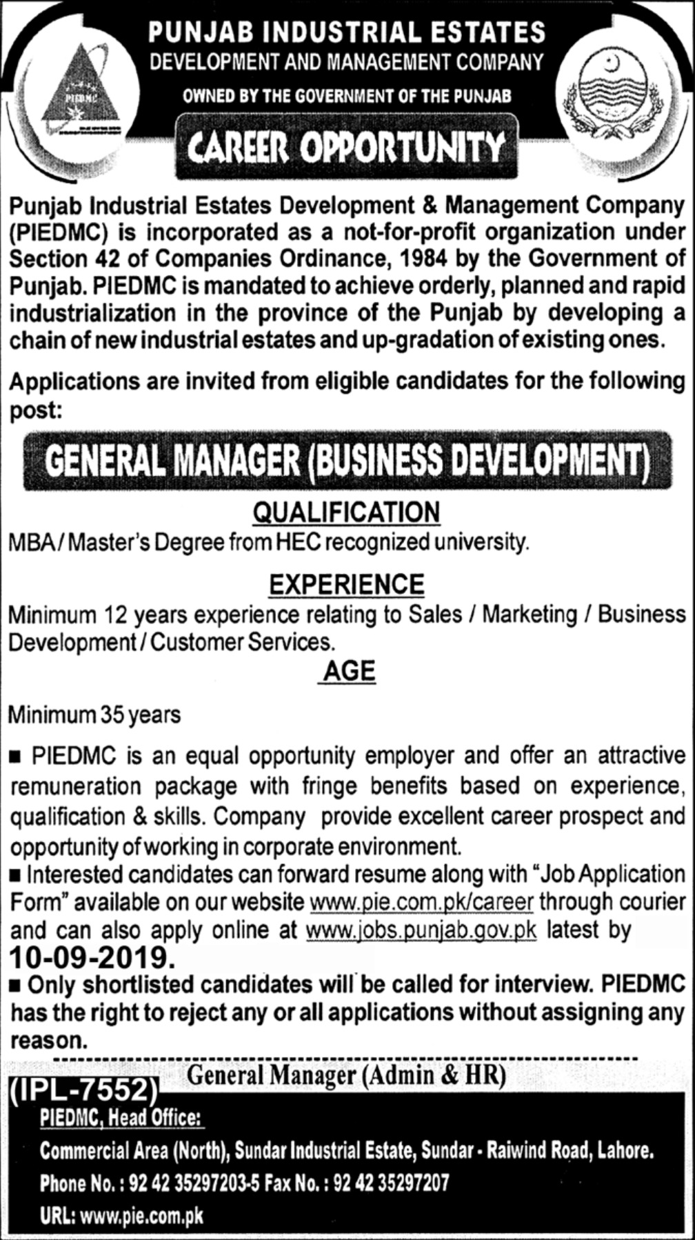 Punjab Industrial Estates Development & Management Company PIEDMC Jobs 2019