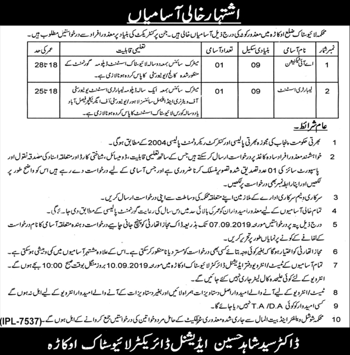 Punjab Livestock Department Okara Jobs 2019