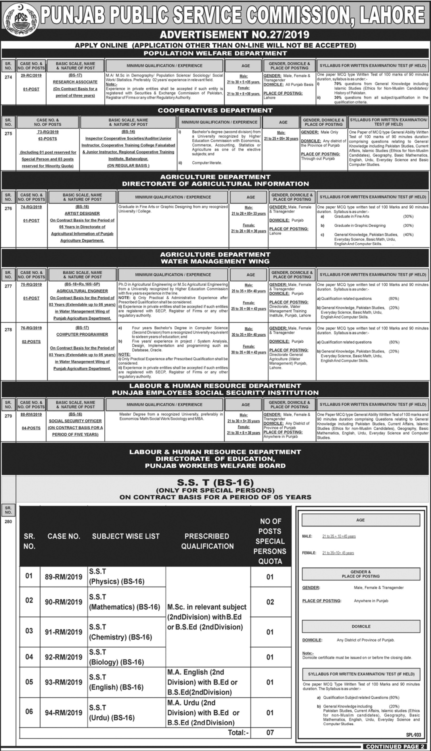 Punjab Public Service Commission PPSC Jobs 2019 Apply Online