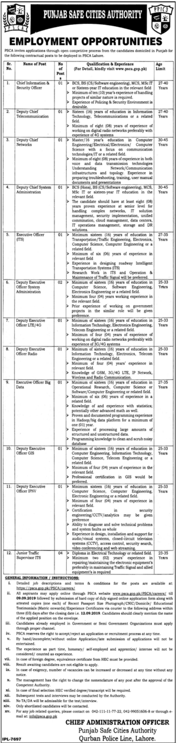 Punjab Safe Cities Authority PSCA Jobs 2019 Apply Online