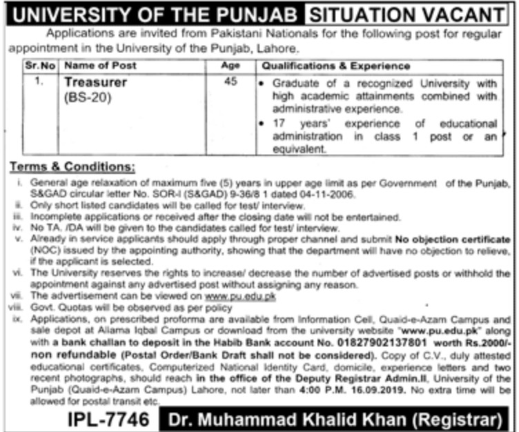 Punjab University PU Jobs 2019 Download Application Form