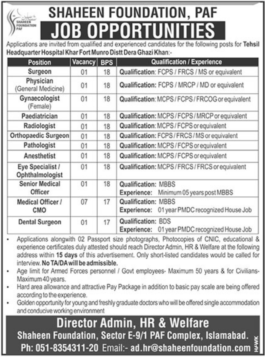 Shaheen Foundation PAF Jobs 2019 DG Khan