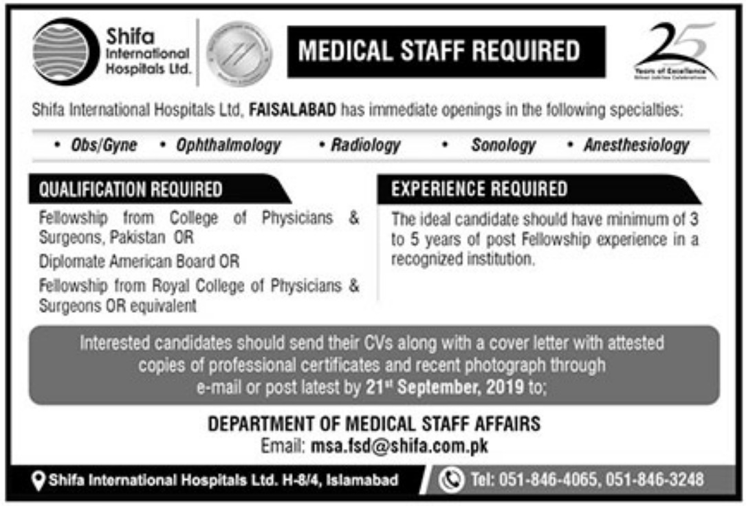 Shifa International Hospitals Ltd Jobs 2019