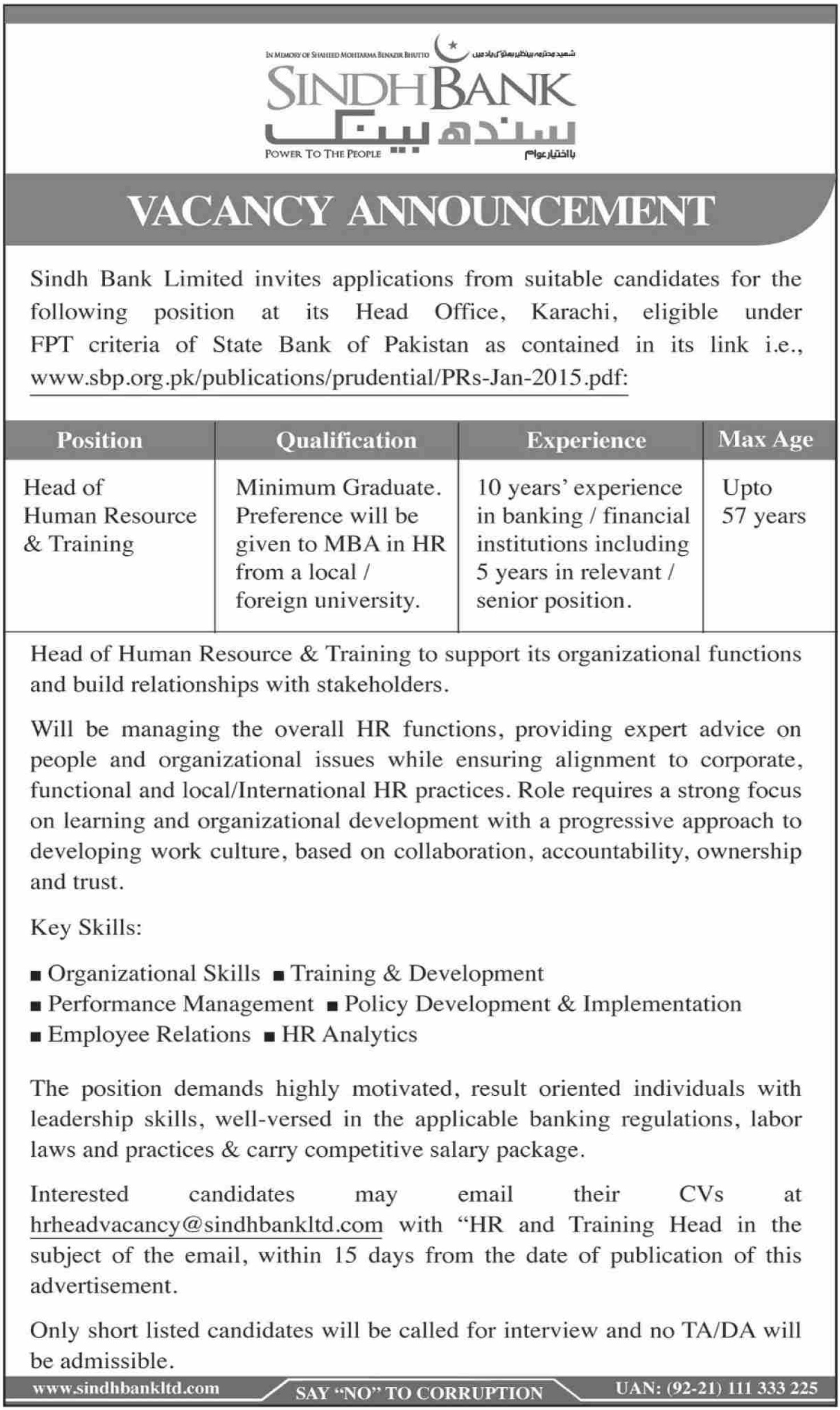 Sindh Bank Ltd Jobs 2019