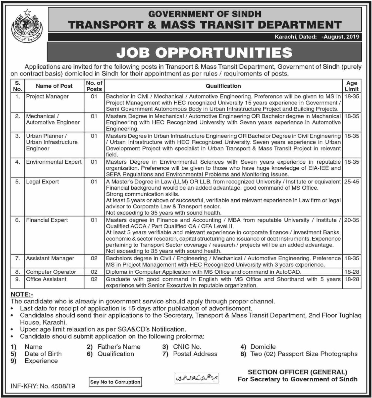 Transport & Mass Transit Department Sindh Jobs 2019