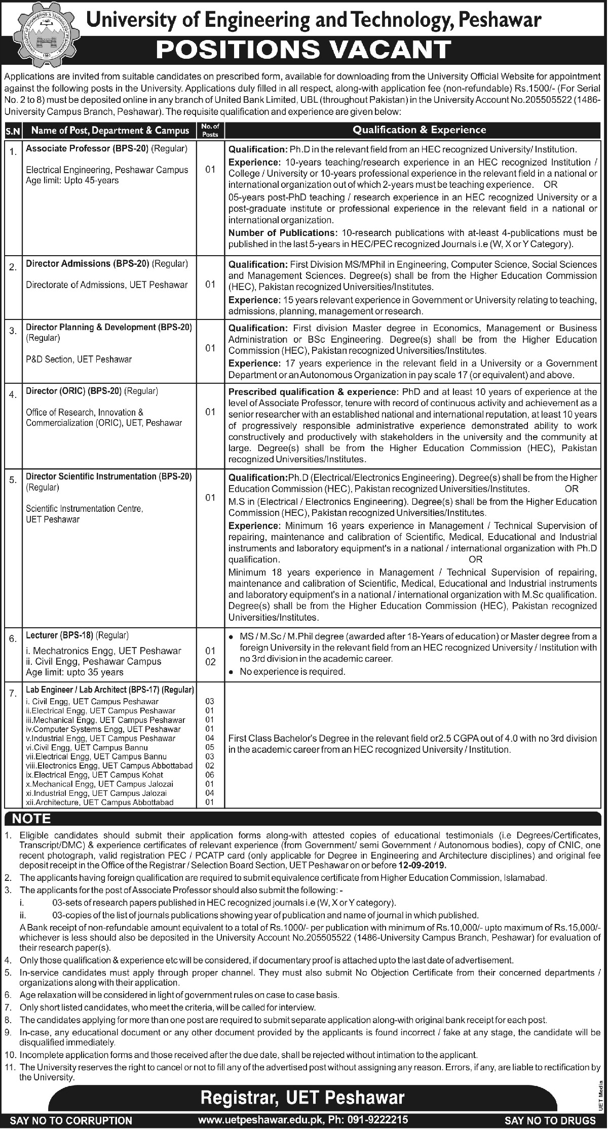 University of Engineering & Technology UET Peshawar Jobs 2019 Download Application Form