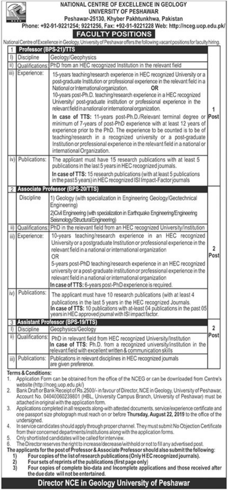 University of Peshawar Jobs 2019 Download Application Form