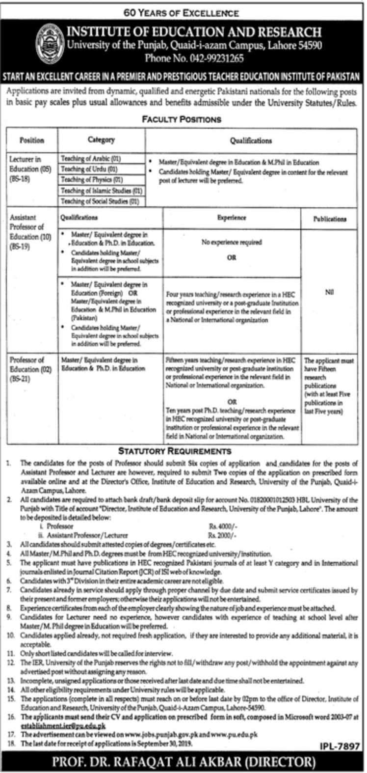 University of the Punjab PU Lahore Jobs 2019 Application Form