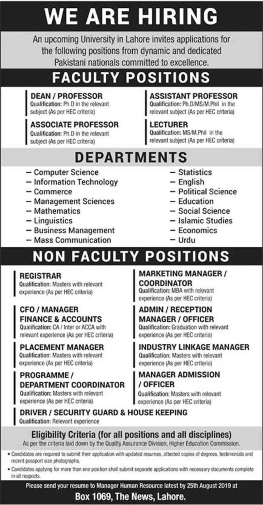 Upcoming University Jobs 2019 P.O.Box 1069 Lahore