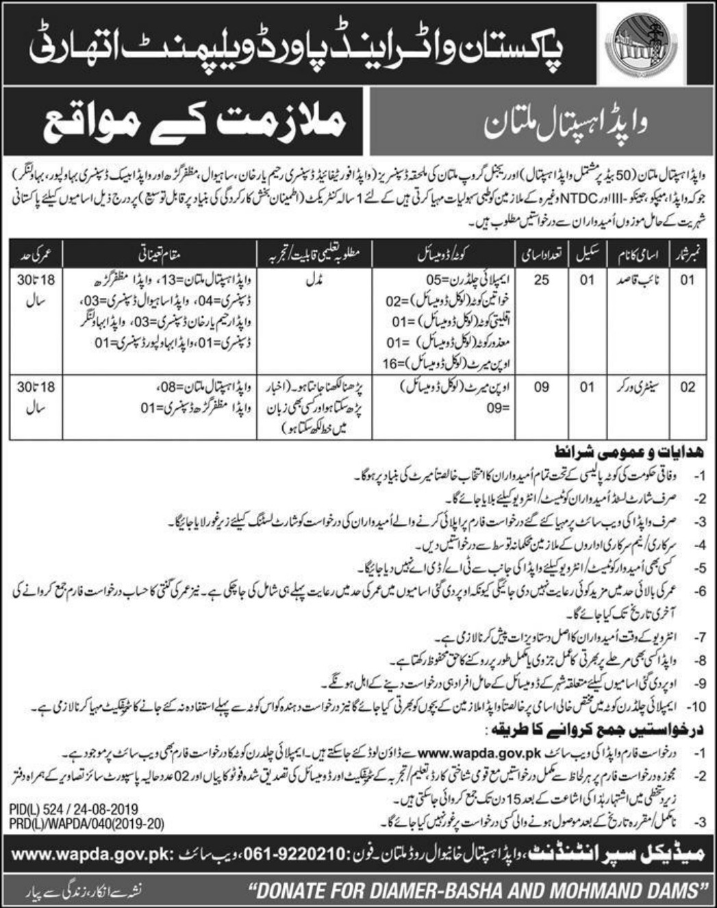 WAPDA Hospital Multan Jobs 2019 Download Application Form