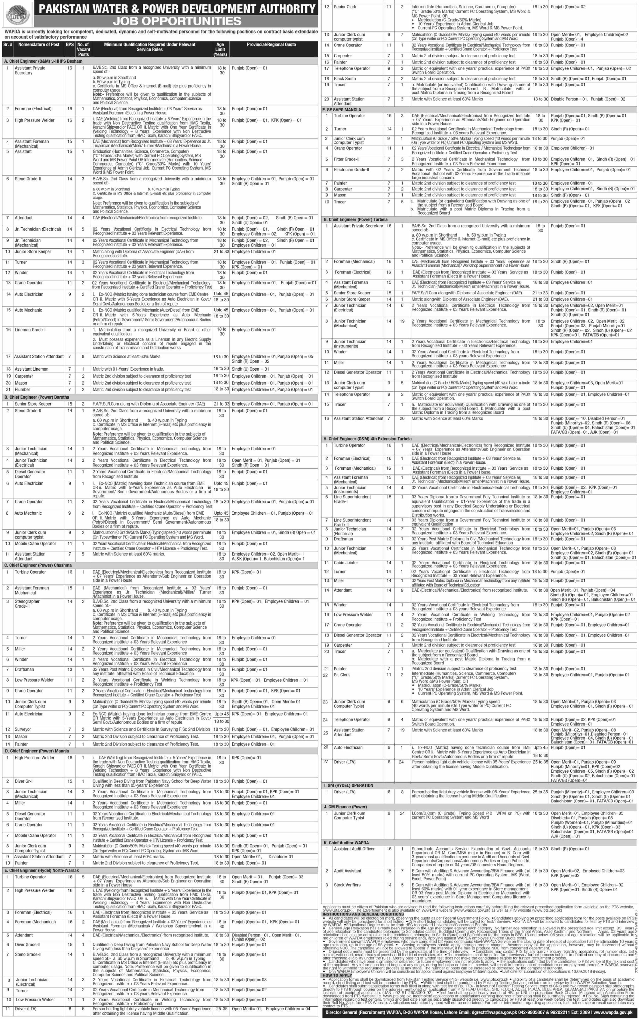 Wapda Jobs 2019 Download PTS Application Form