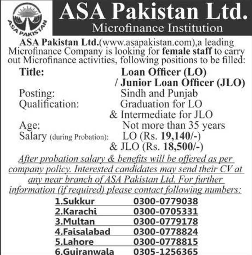 ASA Pakistan Ltd Jobs 2019 Microfinance Institution