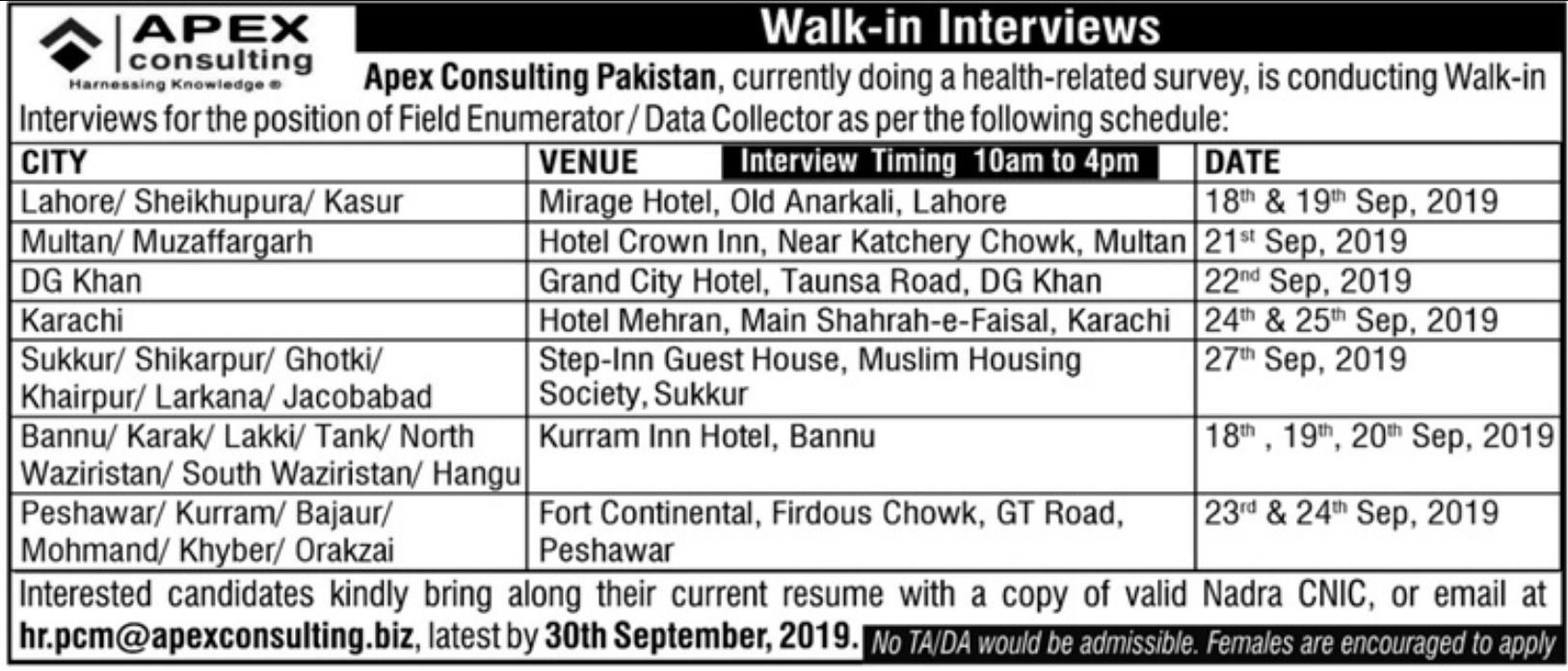 Apex Consulting Pakistan Jobs 2019 Walk-in-Interviews