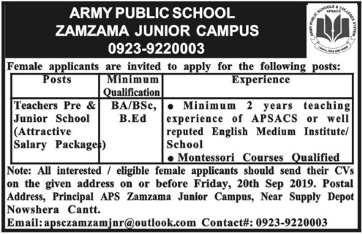 Army Public School Zamzama Junior Campus Nowshera Cantt Jobs 2019