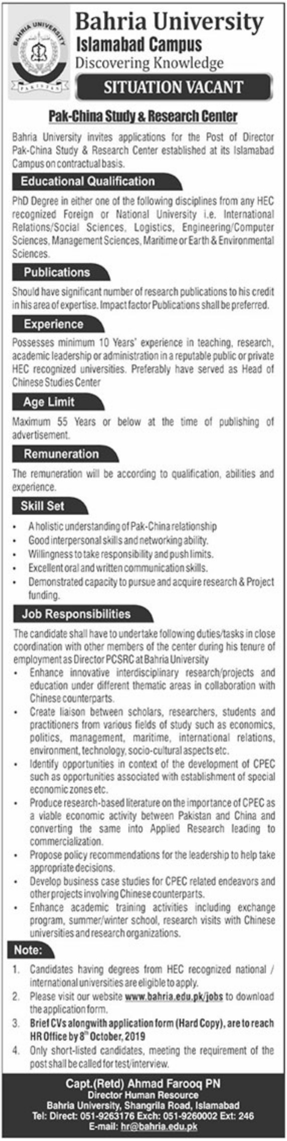 Bahria University Jobs 2019 Islamabad Campus