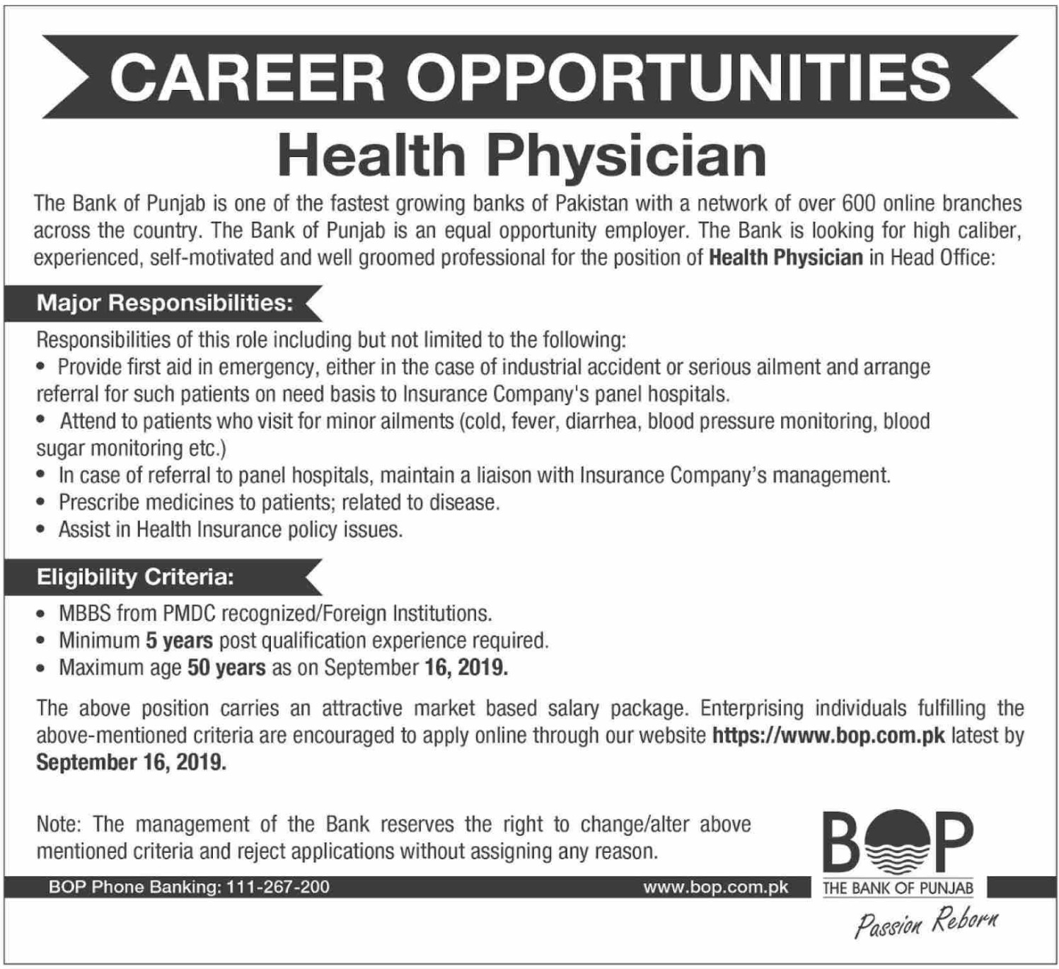 Bank of Punjab BOP Jobs 2019 Health Physician