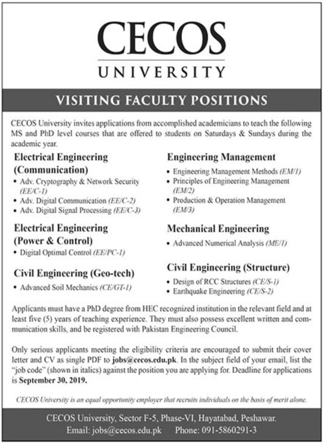 CECOS University Peshawar Jobs 2019 Visiting Faculty