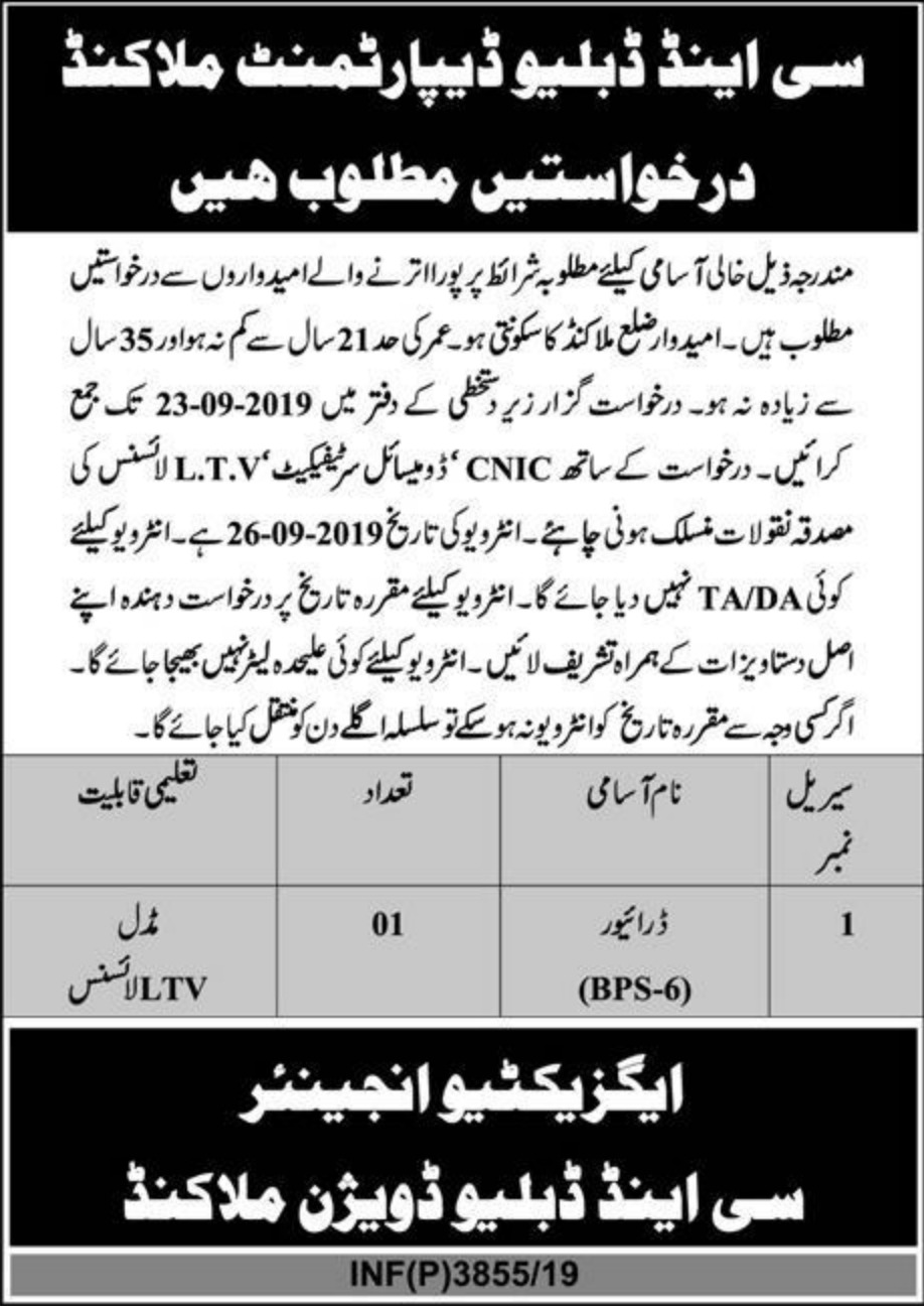 C&W Department Malakand Jobs 2019 KPK