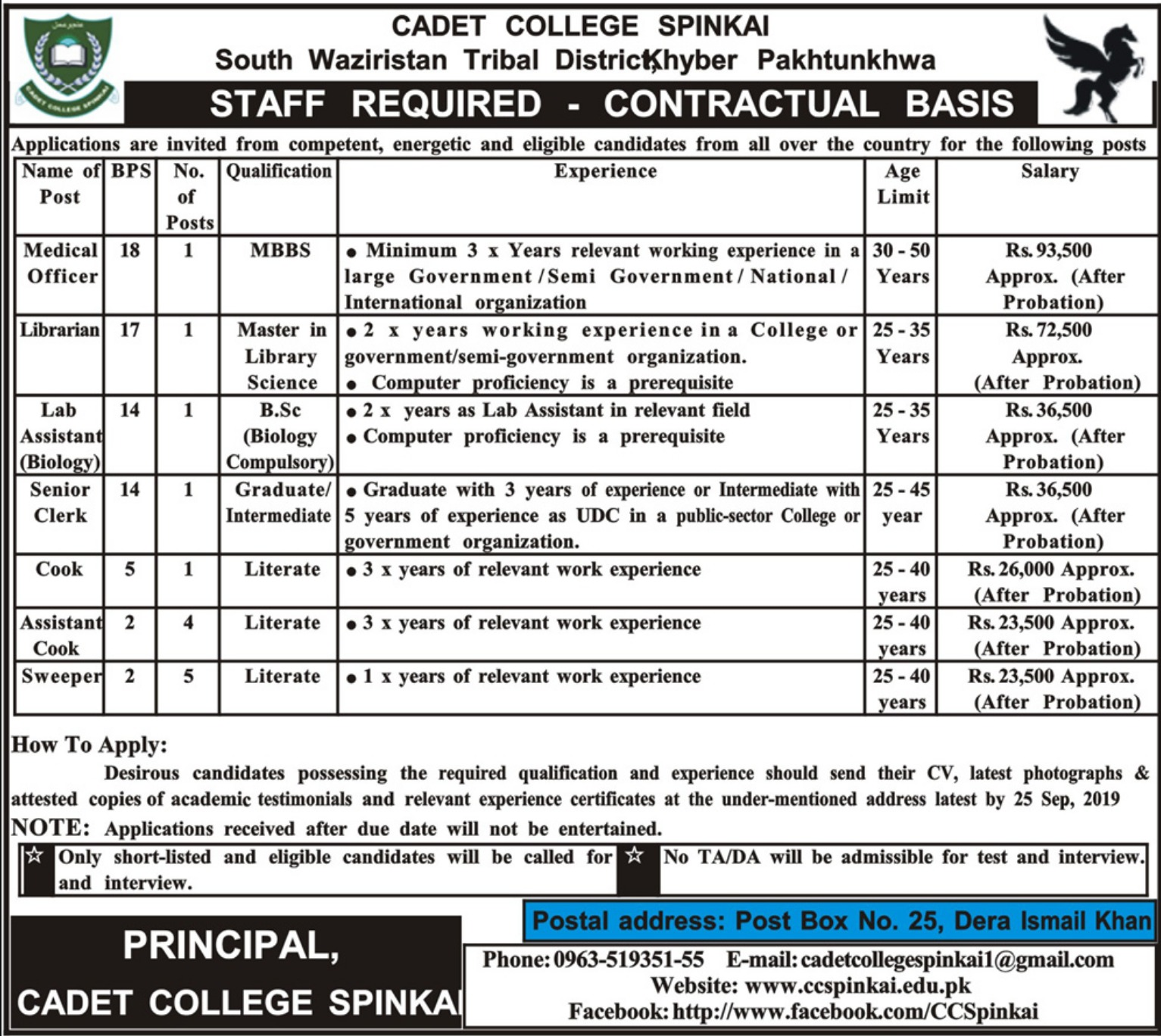 Cadet College Spinkai Jobs 2019 KPKCadet College Spinkai Jobs 2019 KPK