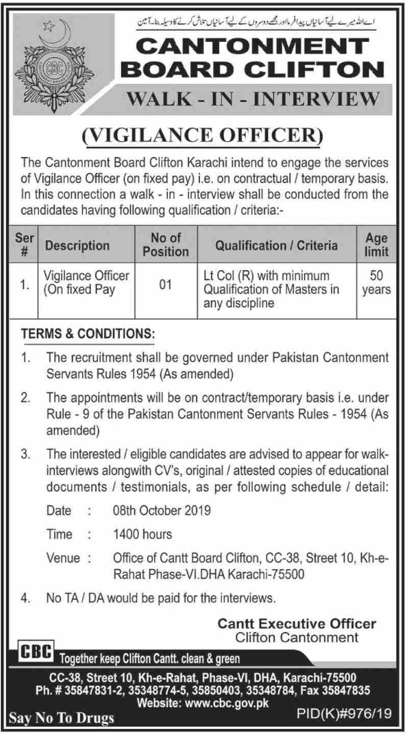 Cantonment Board Clifton Karachi Jobs 2019