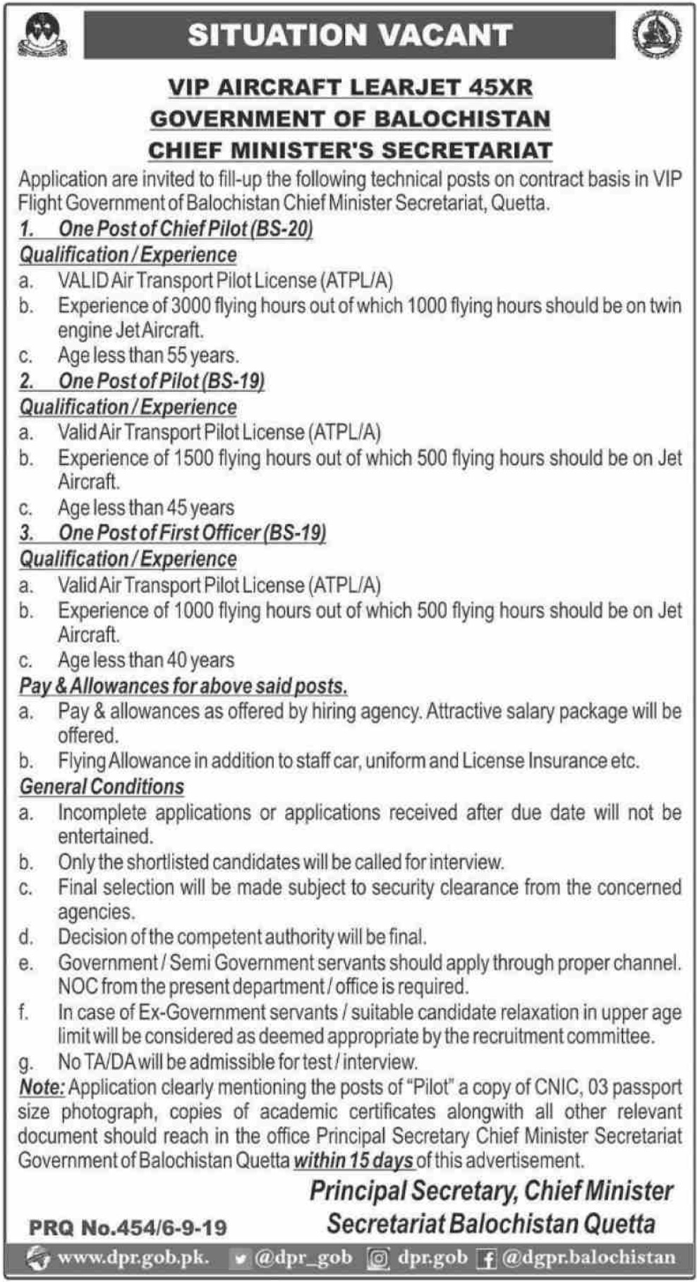 Chief Minister's Secretariat Government of Balochistan Jobs 2019