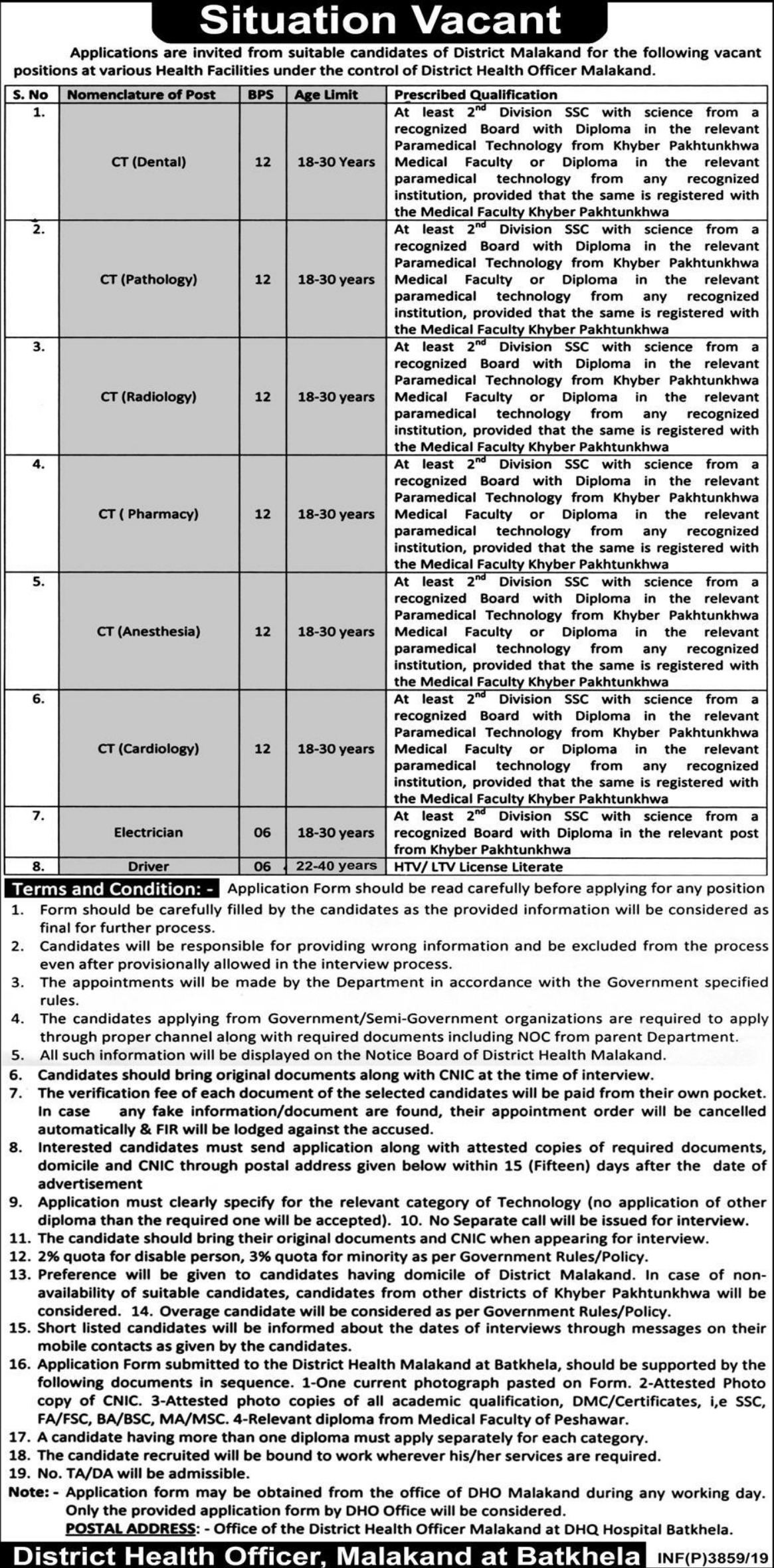 District Health Authority Malakand Jobs 2019 KPK Health Department